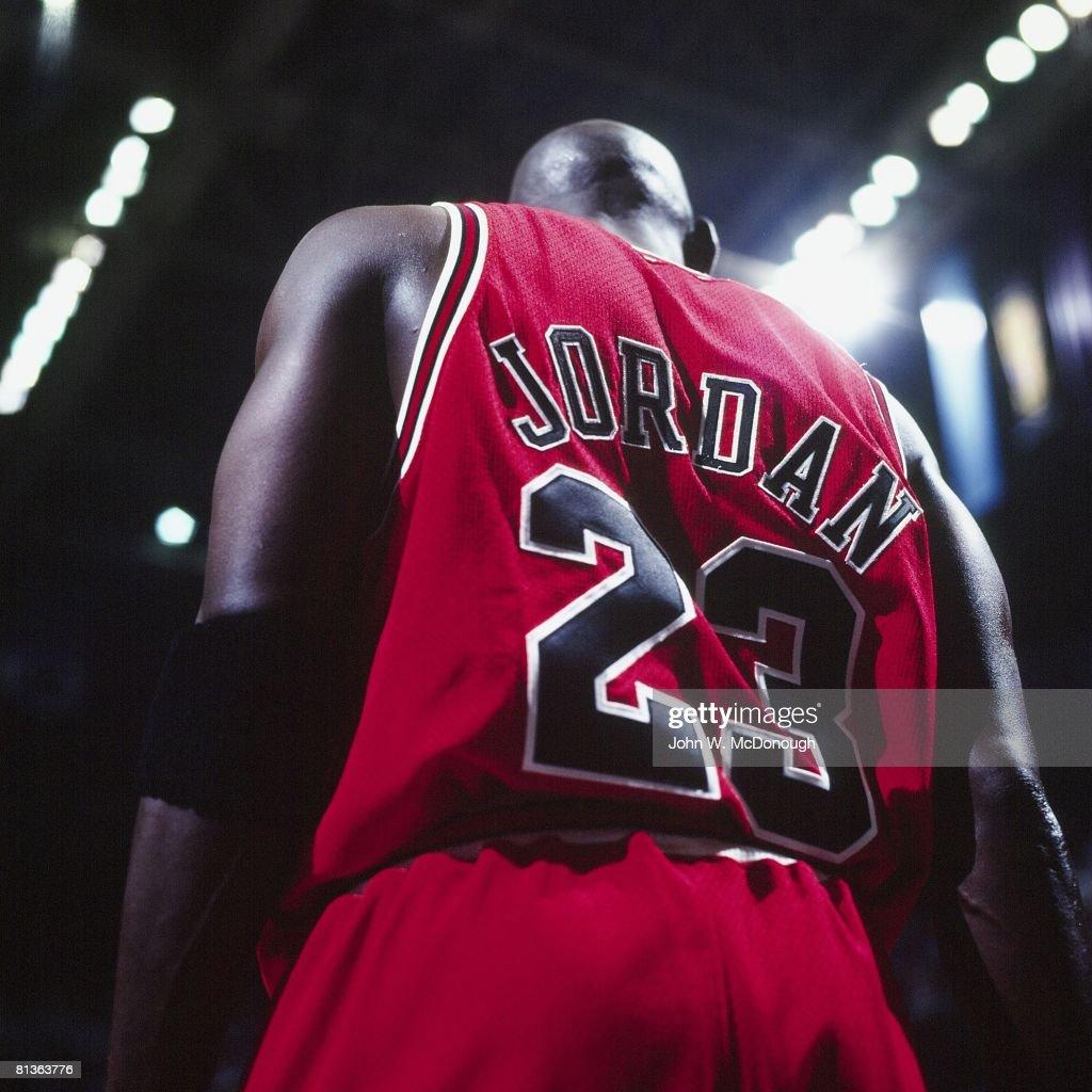 Basketball NBA Finals Rear view closeup of Chicago Bulls Michael Jordan on court during Game 6 vs Utah Jazz Salt Lake City UT 6/14/1998