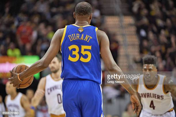 NBA Finals Rear view of Golden State Warriors Kevin Durant during game vs Cleveland Cavaliers at Quicken Loans Arena Game 3 Cleveland OH CREDIT Greg...
