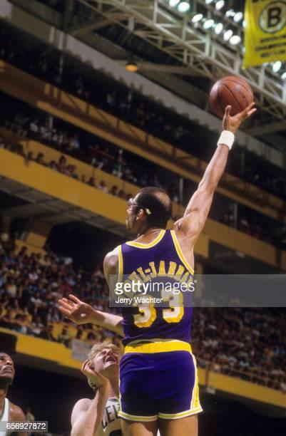 NBA Finals Rear view of Los Angeles Lakers Kareem AbdulJabbar in action shooting hook shot vs Boston Celtics at Boston Garden Game 7 Boston MA CREDIT...