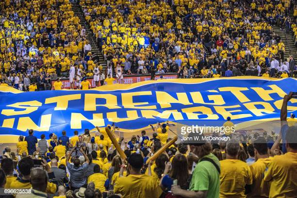 NBA Finals View of banner unfurled over court reading STRENGHT IN NUMBERS during Golden State Warriors vs Cleveland Cavaliers Game 2 at Oracle Arena...