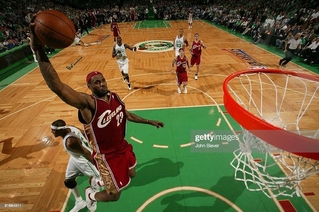 NBA Playoffs, Aerial view of Cleveland Cavaliers LeBron James (23) in action, making dunk vs Boston Celtics, Game 7, Boston, MA 5/18/2008