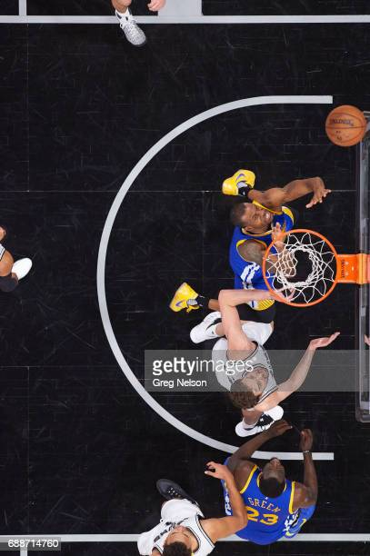 NBA Playoffs Aerial view of Golden State Warriors Andre Iguodala in action vs San Antonio Spurs Pau Gasol at ATT Center Game 4 San Antonio TX CREDIT...