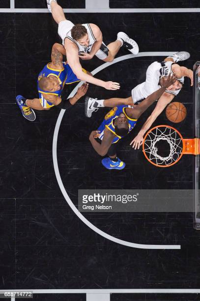 NBA Playoffs Aerial view of San Antonio Spurs Manu Ginobili and Pau Gasol in action vs Golden State Warriors Draymond Green and David West at ATT...