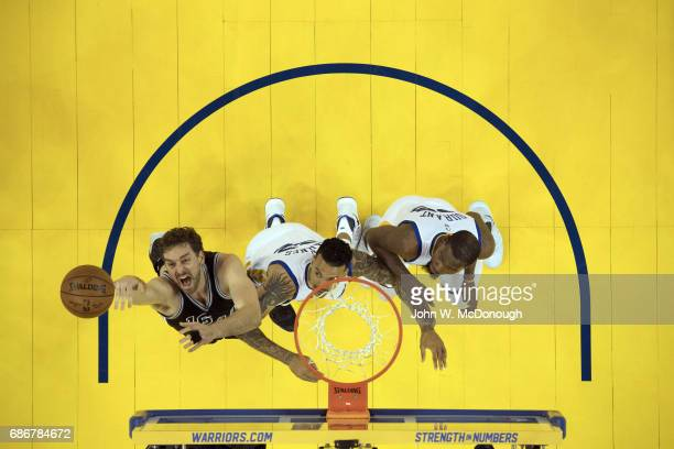 NBA Playoffs Aerial view of San Antonio Spurs Pau Gasol in action vs Golden State Warriors Matt Barnes and Kevin Durant at Oracle Arena Game 2...