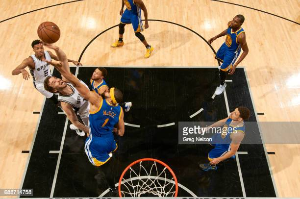 NBA Playoffs Aerial view of San Antonio Spurs Pau Gasol in action vs Golden State Warriors JaVale McGee at ATT Center Game 4 San Antonio TX CREDIT...