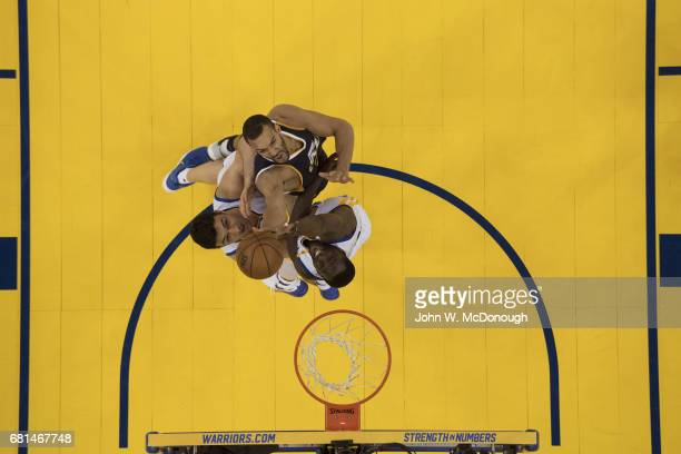 NBA Playoffs Aerial view of Utah Jazz Rudy Gobert in action vs Golden State Warriors Draymond Green and Zaza Pachulia at Oracle Arena Game 2 Cover...