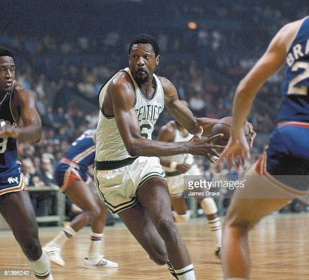 Basketball NBA Playoffs Boston Celtics Bill Russell in action vs New York Knicks Game 6 Cover Boston MA 4/18/1969