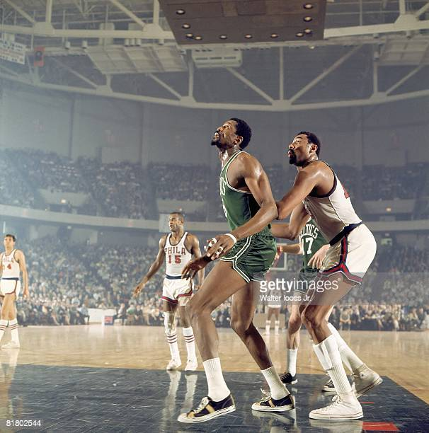 Basketball NBA Playoffs Boston Celtics Bill Russell in action vs Philadelphia 76ers Wilt Chamberlain Game 1 Philadelphia PA 4/5/1968
