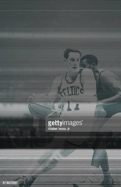 Basketball NBA Playoffs Boston Celtics John Havlicek in action vs Philadelphia 76ers Hal Greer Game 7 Boston MA 4/15/1965