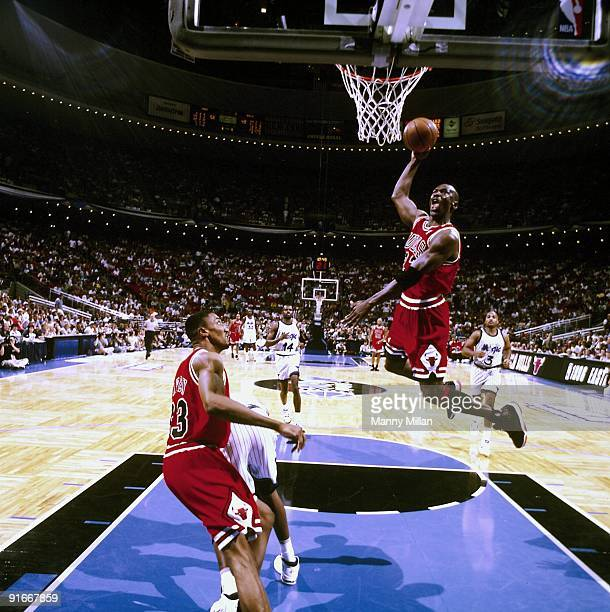 NBA Playoffs Chicago Bulls Michael Jordan in action dunk vs Orlando Magic Game 4 Orlando FL 5/27/1996 CREDIT Manny Millan