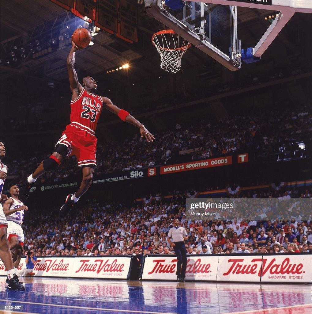 NBA Playoffs, Chicago Bulls Michael Jordan (23) in action, making dunk vs Philadelphia 76ers, Game 3, Philadelphia, PA 5/10/1991