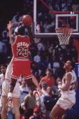 Basketball NBA Playoffs Chicago Bulls Michael Jordan in action taking game winning buzzer beater shot vs Cleveland Cavaliers Craig Ehlo Game 5 The...