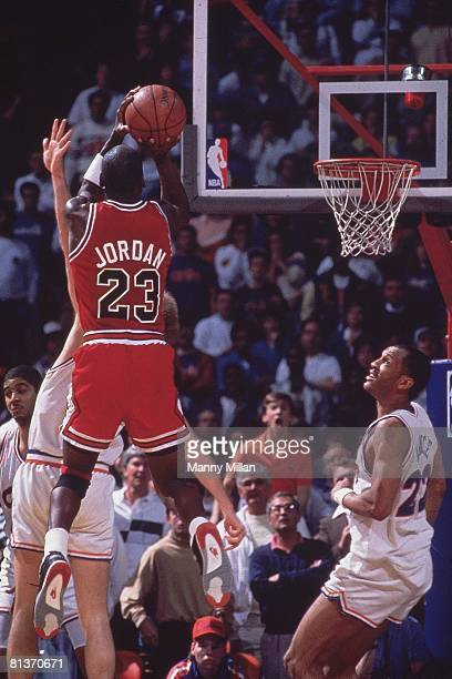 Basketball NBA Playoffs Chicago Bulls Michael Jordan in action taking game winning buzzer beater shot vs Cleveland Cavaliers Craig Ehlo Game 5 The...
