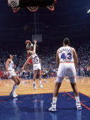 NBA Playoffs Chicago Bulls Michael Jordan in action taking game winning buzzer beater shot vs Cleveland Cavaliers Craig Ehlo Game 5 The Shot...