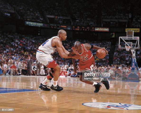 Basketball NBA Playoffs Chicago Bulls Michael Jordan in action vs Philadelphia 76ers Charles Barkley Game 3 Philadelphia PA 5/10/1991