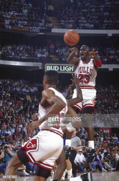 NBA Playoffs Chicago Bulls Michael Jordan in action vs Detroit Pistons Game 3 Chicago IL 5/26/1990 CREDIT Manny Millan