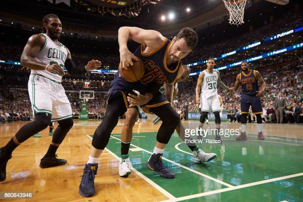 NBA Playoffs Cleveland Cavaliers Kevin Love in action vs Boston Celtics Al Horford and Jae Crowder at TD Garden Game 2 Boston MA CREDIT Erick W Rasco
