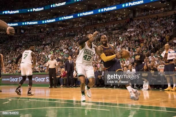 NBA Playoffs Cleveland Cavaliers LeBron James in action vs Boston Celtics Al Horford at TD Garden Game 1 Boston MA CREDIT Erick W Rasco