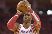 NBA Playoffs Closeup of Houston Rockets Dwight Howard during free throw vs Portland Trail Blazers at Toyota Center Game 1 Houston TX CREDIT Greg...