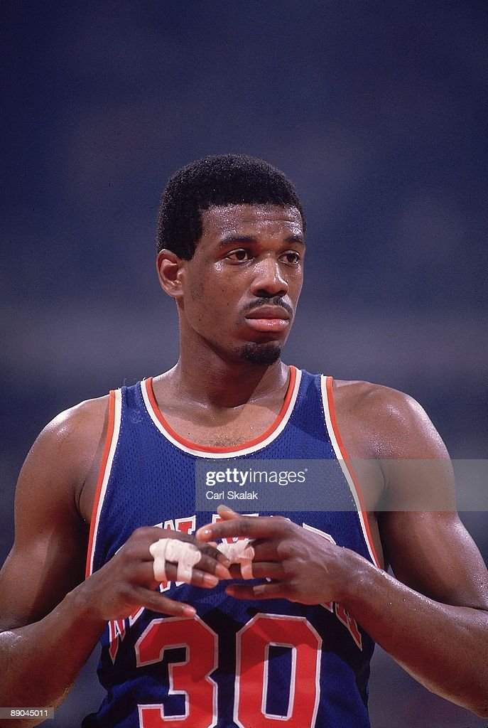 Closeup of New York Knicks <a gi-track='captionPersonalityLinkClicked' href=/galleries/search?phrase=Bernard+King&family=editorial&specificpeople=214248 ng-click='$event.stopPropagation()'>Bernard King</a> (30) during Game 5 vs Detroit Pistons. Pontiac, MI 4/27/1984