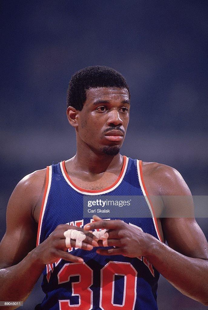 Closeup of New York Knicks Bernard King (30) during Game 5 vs Detroit Pistons. Pontiac, MI 4/27/1984