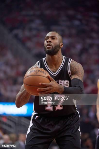 NBA Playoffs Closeup of San Antonio Spurs Jonathon Simmons during free throw vs Houston Rockets at Toyota Center Game 4 Houston TX CREDIT Greg Nelson