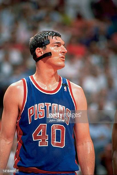 NBA Playoffs Detroit Pistons Bill Laimbeer wearing protective mask on court during Game 5 vs Atlanta Hawks at The Palace Auburn Hills MI CREDIT John...