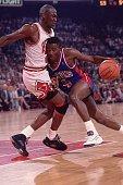 NBA Playoffs Detroit Pistons Joe Dumars in action vs Chicago Bulls Michael Jordan Game 6 Chicago IL 6/1/1990 CREDIT David E Klutho