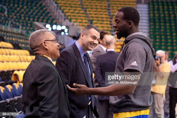 NBA Playoffs Golden State Warriors forward Draymond Green speaking with executive before game vs Utah Jazz at Vivint Smart Home Arena Game 3 Salt...