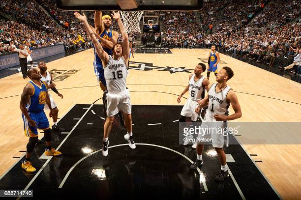 NBA Playoffs Golden State Warriors JaVale McGee in action vs San Antonio Spurs Pau Gasol at ATT Center Game 4 San Antonio TX CREDIT Greg Nelson