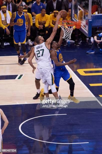 NBA Playoffs Golden State Warriors Kevin Durant in action vs Utah Jazz Rudy Gobert at Vivint Smart Home Arena Game 3 Salt Lake City UT CREDIT John W...