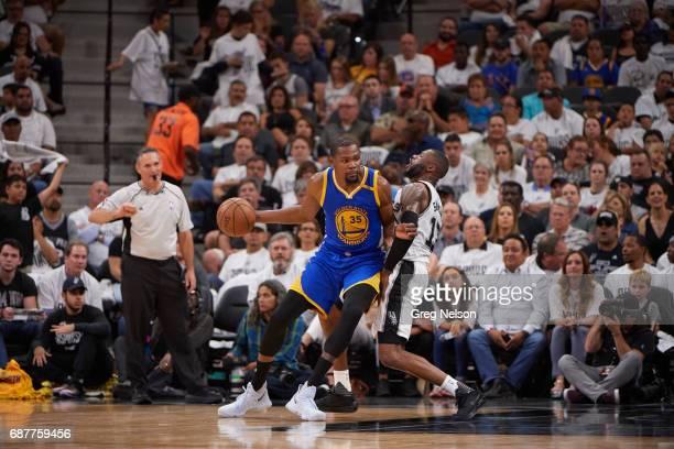 NBA Playoffs Golden State Warriors Kevin Durant in action vs San Antonio Spurs Jonathon Simmons at ATT Center Game 3 San Antonio TX CREDIT Greg Nelson