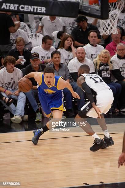 NBA Playoffs Golden State Warriors Klay Thompson in action vs San Antonio Spurs Jonathon Simmons at ATT Center Game 3 San Antonio TX CREDIT Greg...