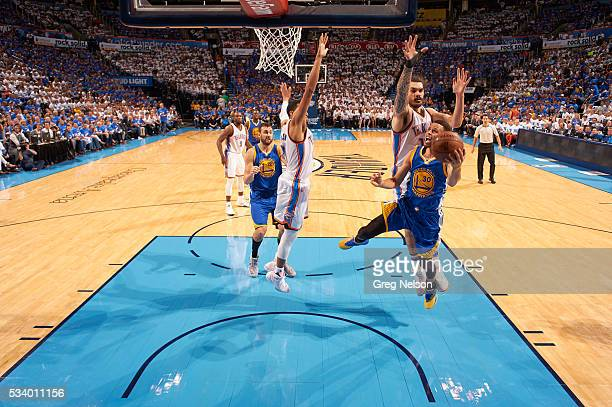 NBA Playoffs Golden State Warriors Stephen Curry in action vs Oklahoma City Thunder Steven Adams at Chesapeake Energy Arena Game 3 Oklahoma City OK...