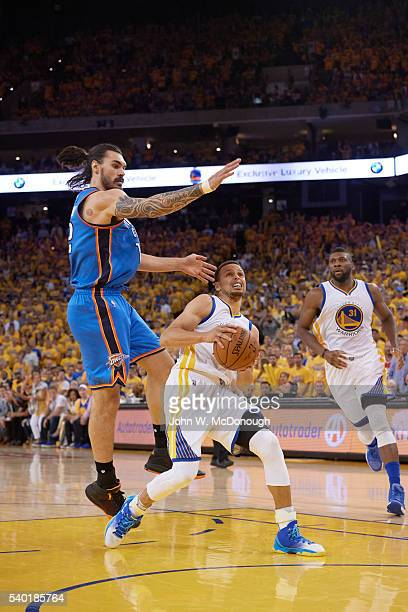 NBA Playoffs Golden State Warriors Stephen Curry in action vs Oklahoma City Thunder Steven Adams at Oracle Arena Game 7 Oakland CA CREDIT John W...