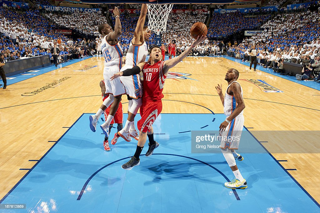 Houston Rockets Carlos Delfino (10) in action vs Oklahoma City Thunder at Chesapeake Energy Arena. Game 2. Greg Nelson F50 )