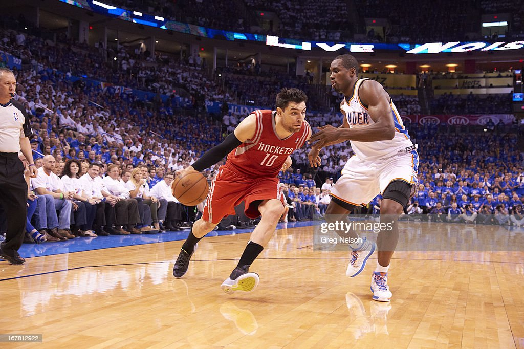 Houston Rockets Carlos Delfino (10) in action vs Oklahoma City Thunder at Chesapeake Energy Arena. Game 2. Greg Nelson F260 )