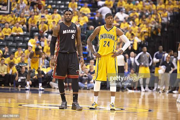 NBA Playoffs Indiana Pacers Paul George and Miami Heat LeBron James on court during Game 2 at Bankers Life Fieldhouse Indianapolis IN CREDIT David E...