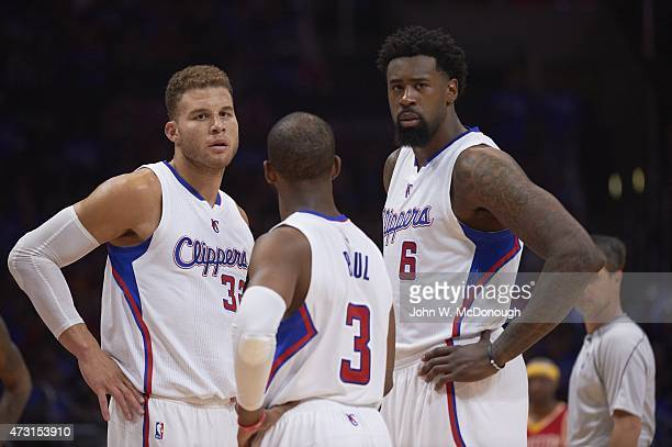 NBA Playoffs Los Angeles Clippers Blake Griffin with DeAndre Jordan and Chris Paul during game vs Houston Rockets at Staples Center Game 3 Los...