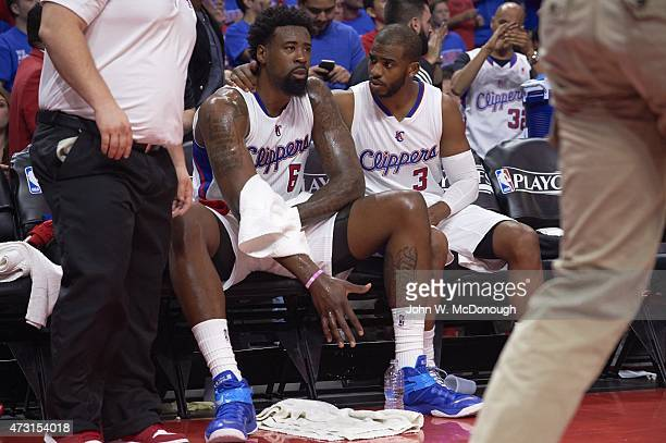 NBA Playoffs Los Angeles Clippers DeAndre Jordan and Chris Paul on bench during game vs Houston Rockets at Staples Center Game 3 Los Angeles CA...