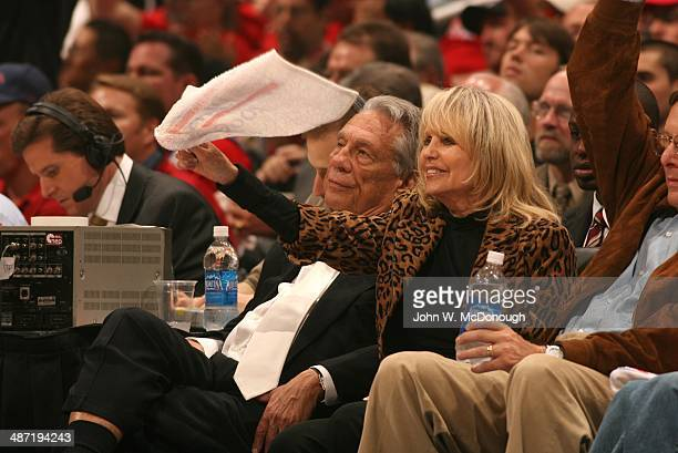 NBA Playoffs Los Angeles Clippers owner Donald Sterling with wife Rochelle Sterling in courtside seats during Game 5 vs Denver Nuggets at Staples...