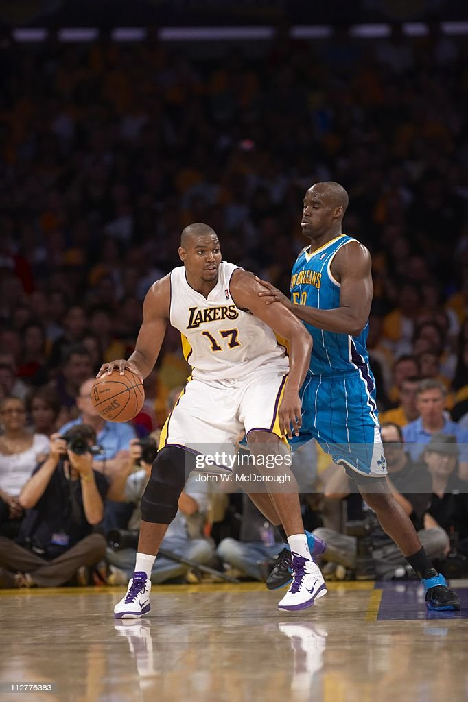 NBA Playoffs Los Angeles Lakers Andrew Bynum in action vs New Orleans Hornets Emeka Okafor at Staples Center Game 1 Los Angeles CA 4/17/2011CREDIT...