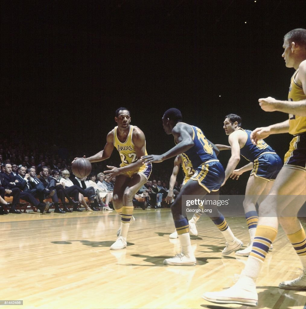 Basketball NBA Playoffs Los Angeles Lakers Elgin Baylor in action vs San Francisco Warriors Game 1 Inglewood CA 4/5/1968