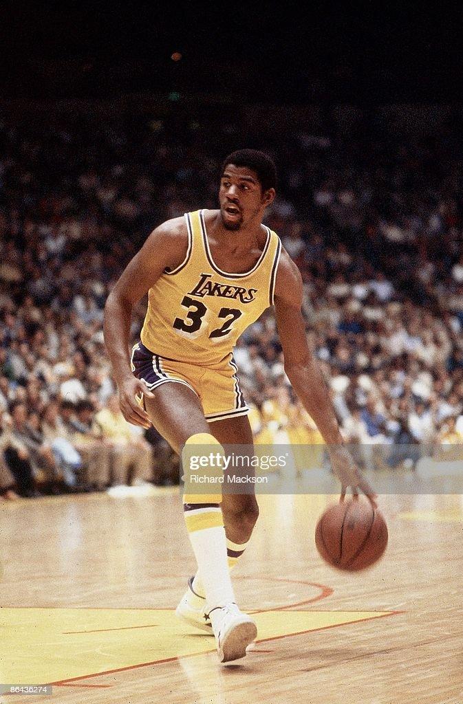 NBA Playoffs Los Angeles Lakers Magic Johnson in action vs Seattle SuperSonics Inglewood CA 4/22/19804/30/1980 CREDIT Richard Mackson