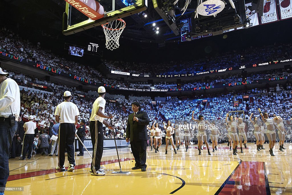 Miami Heat cheerleaders on court during game vs Indiana Pacers at American Airlines Arena. Game 5. Walter Iooss Jr. F150 )