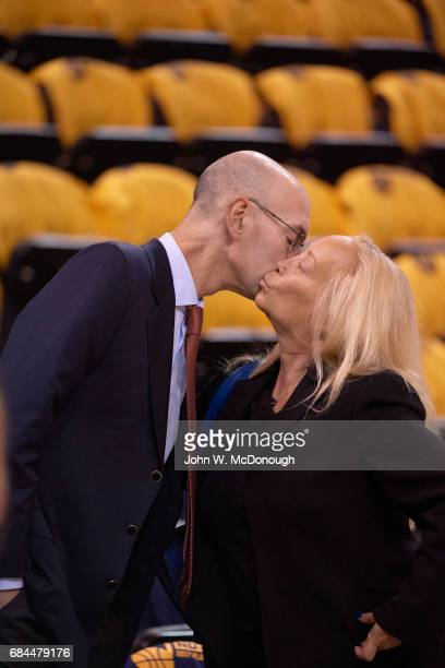 NBA Playoffs NBA commissioner Adam Silver kissing Golden State Warriors executive board member Erika Glazer before game vs Utah Jazz at Vivint Smart...