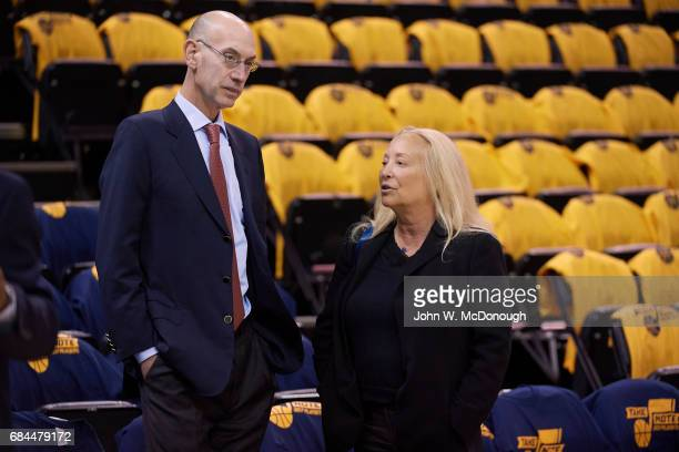 NBA Playoffs NBA commissioner Adam Silver with Golden State Warriors executive board member Erika Glazer before game vs Utah Jazz at Vivint Smart...