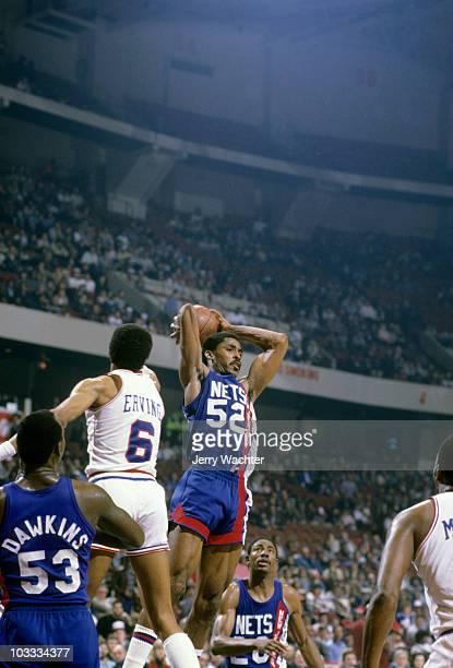 NBA Playoffs New Jersey Nets Buck Williams in action rebounding vs Philadelphia 76ers Game 1 Philadelphia PA 4/18/1984 CREDIT Jerry Wachter