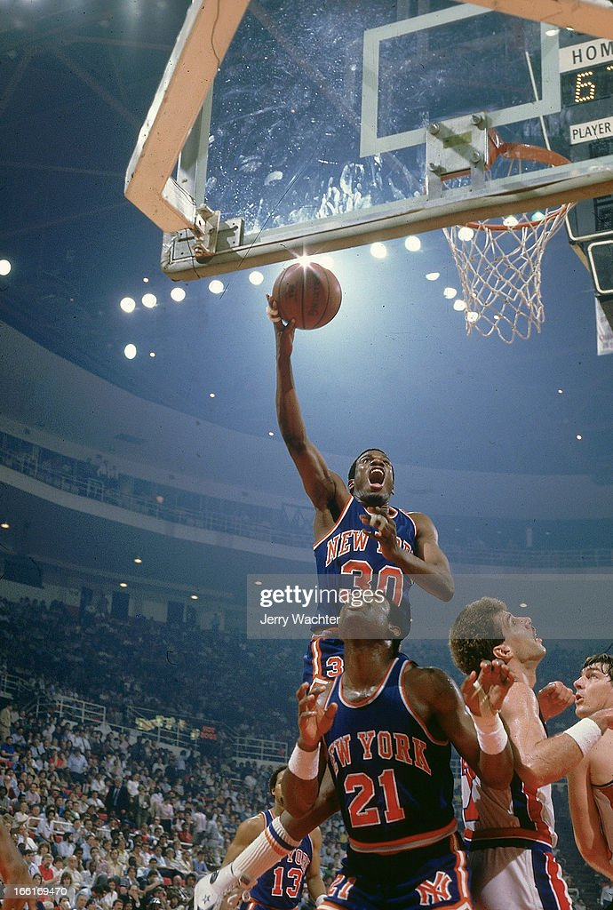 New York Knicks <a gi-track='captionPersonalityLinkClicked' href=/galleries/search?phrase=Bernard+King&family=editorial&specificpeople=214248 ng-click='$event.stopPropagation()'>Bernard King</a> (30) in action, layup vs Detroit Pistons at Joe Louis Arena. Game 5. Cover. Detroit, MI 4/27/1984CREDIT: Jerry Wachter