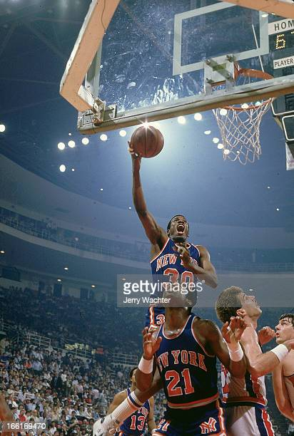 NBA Playoffs New York Knicks Bernard King in action layup vs Detroit Pistons at Joe Louis Arena Game 5 Cover Detroit MI 4/27/1984CREDIT Jerry Wachter